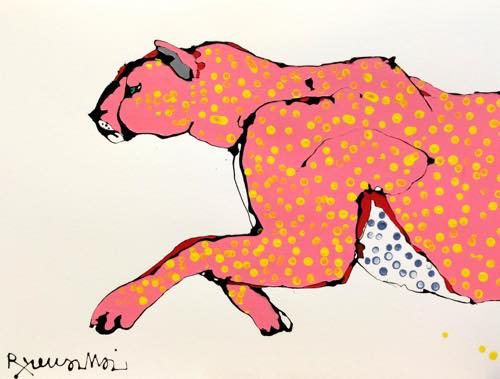 th_930H-art Beat Gallery/Ryuma IMAI_Cheetah_2015_54x40cm_Enamel & acrylic on paper