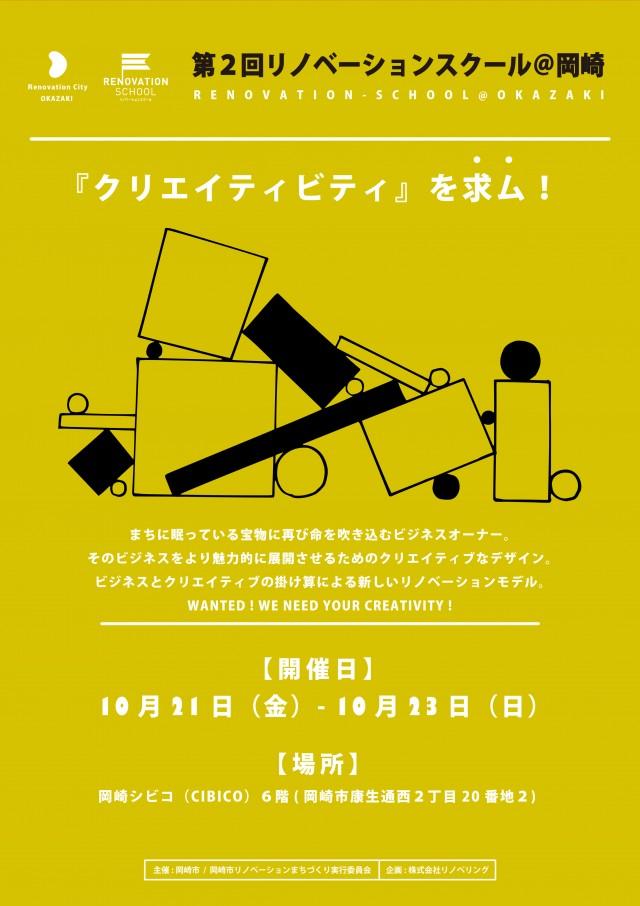 ビジネスとクリエイティブの掛け算による新しいリノベーションが学べる「リノベーションスクール」が岡崎シビコにて開講。講師に、嶋田洋平や三浦丈典ら。