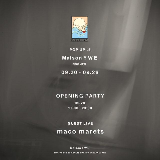 国内外から注目されているアーティスト・Dawningの展示が矢場町・Maison YWEにて開催。3日間限定のコーヒースタンドや音楽ライブも。