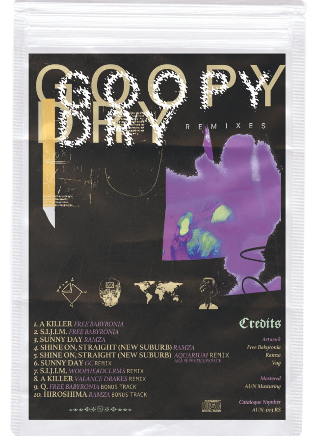 名古屋拠点、国内屈指のビートメイカー・Free Babyronia、RAMZAによるスプリットEP『GOOPY DRY』リミックス盤が発売。GC、Aquarium、Valance Drakes、woopheadclrmsが参加。アーティスト・VUGと制作したブック、ステッカーを同梱した限定盤も。